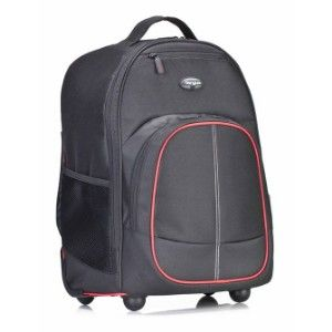 16  Compact Rolling Backpack-Black-Red 2In 1  Single Hand Trolley Backpack