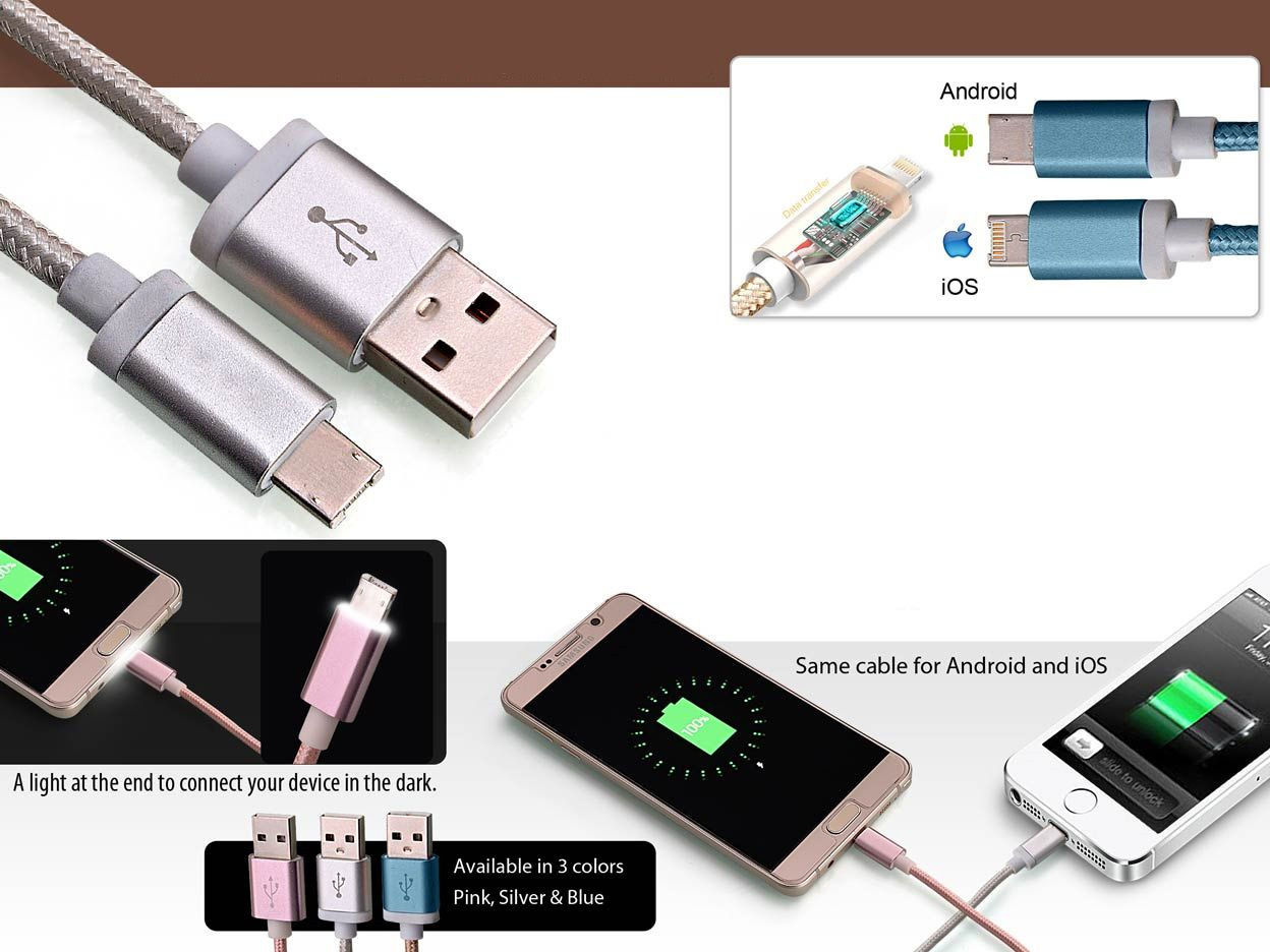 Power Plus 2 Side Cable For Android And Iphone With Light C49