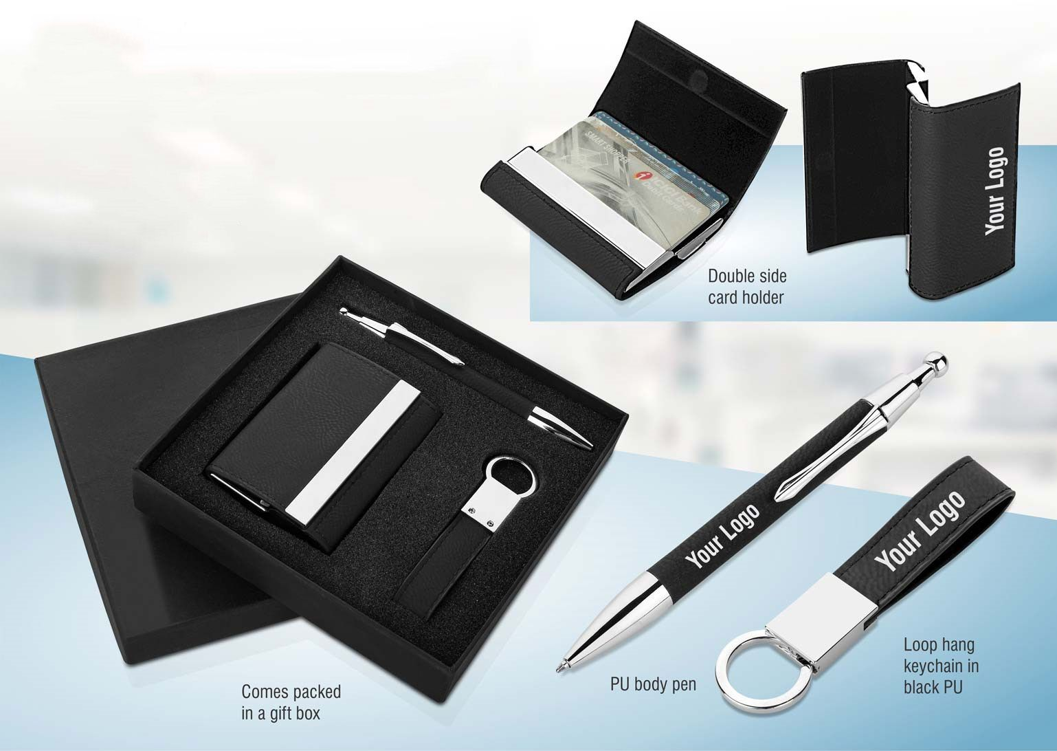 Power Plus 3 Pc Gift Set: Double Side Card Holder, Pu Keychain, Pu Pen | Silver Laser Color Q31 Black