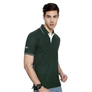 Flying Machine Collared T-Shirt Bottle Green With White Tipping
