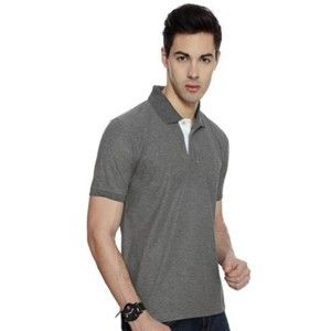 Izod Collared T-Shirt Charcoal Grey With White Placket