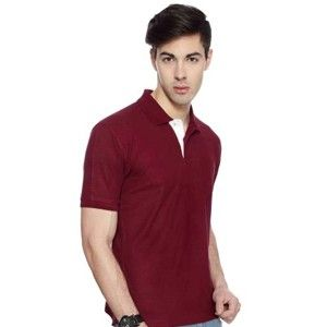 Izod Collared T-Shirt Maroon With White Placket
