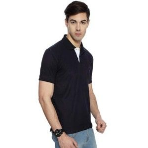 Izod Collared T-Shirt Navy Blue With White Placket