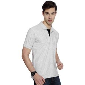 Izod Collared T-Shirt White Melange With Black Placket