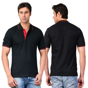 Scott Collared T-Shirt Black With Red Tipping
