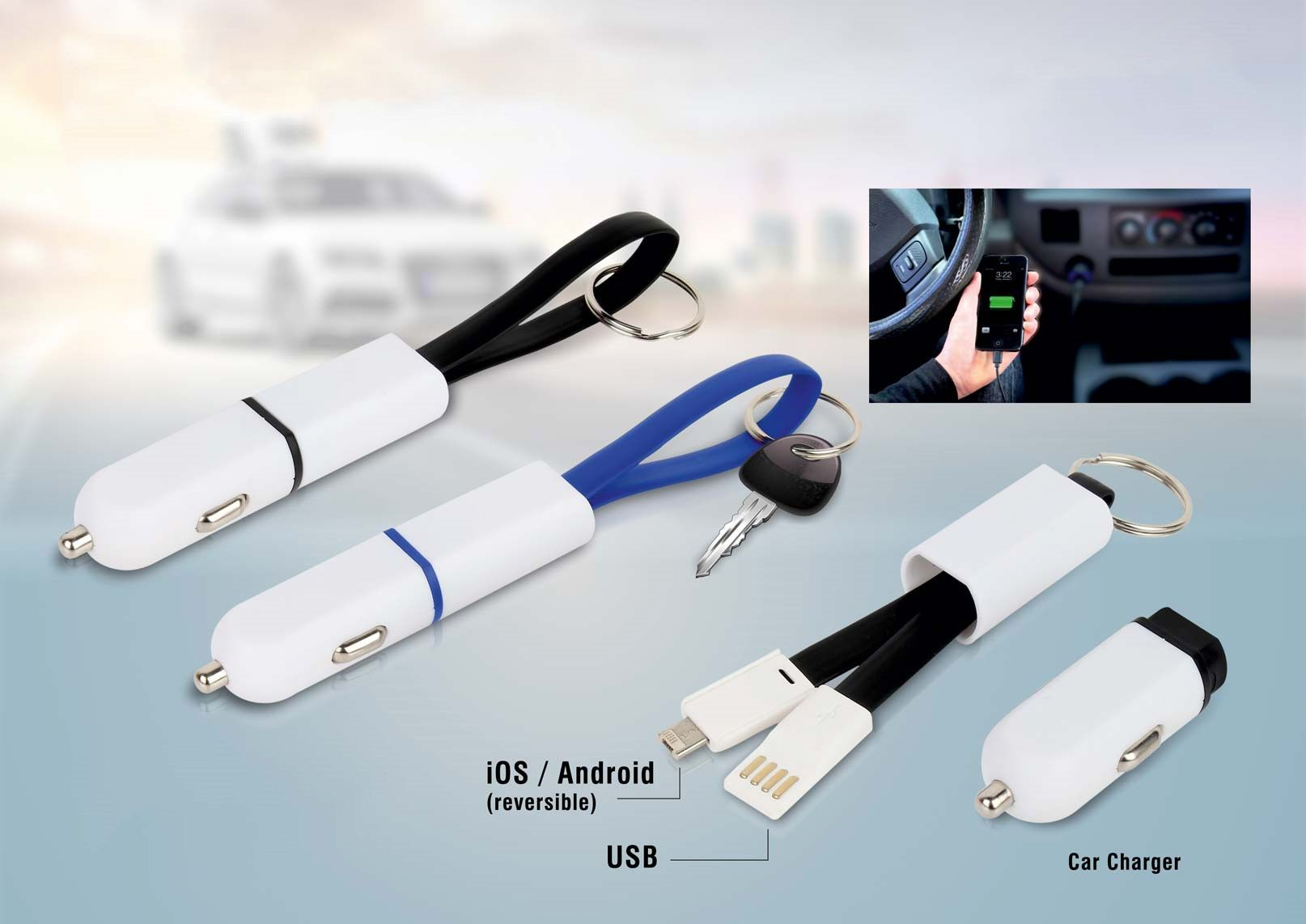 Power Plus Car Charger With Keychain And Charging Cable (Dual Side Ios & Android) C81