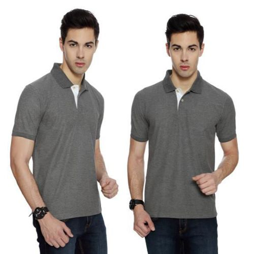 IZOD Men Charcoal Grey with White Placket Collared T-shirt-XXL