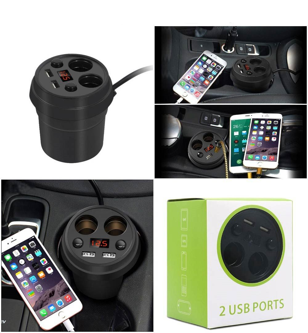Power Plus Dual Usb Car Charger With Extra 12V Ports Z12 Black
