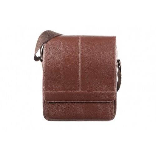 Elan Leather Shoulder Bag With Flap-Brown