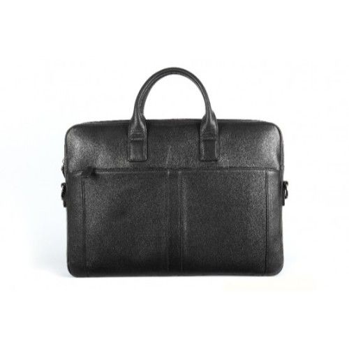 Elan Leather Slim Laptop Bag-Black