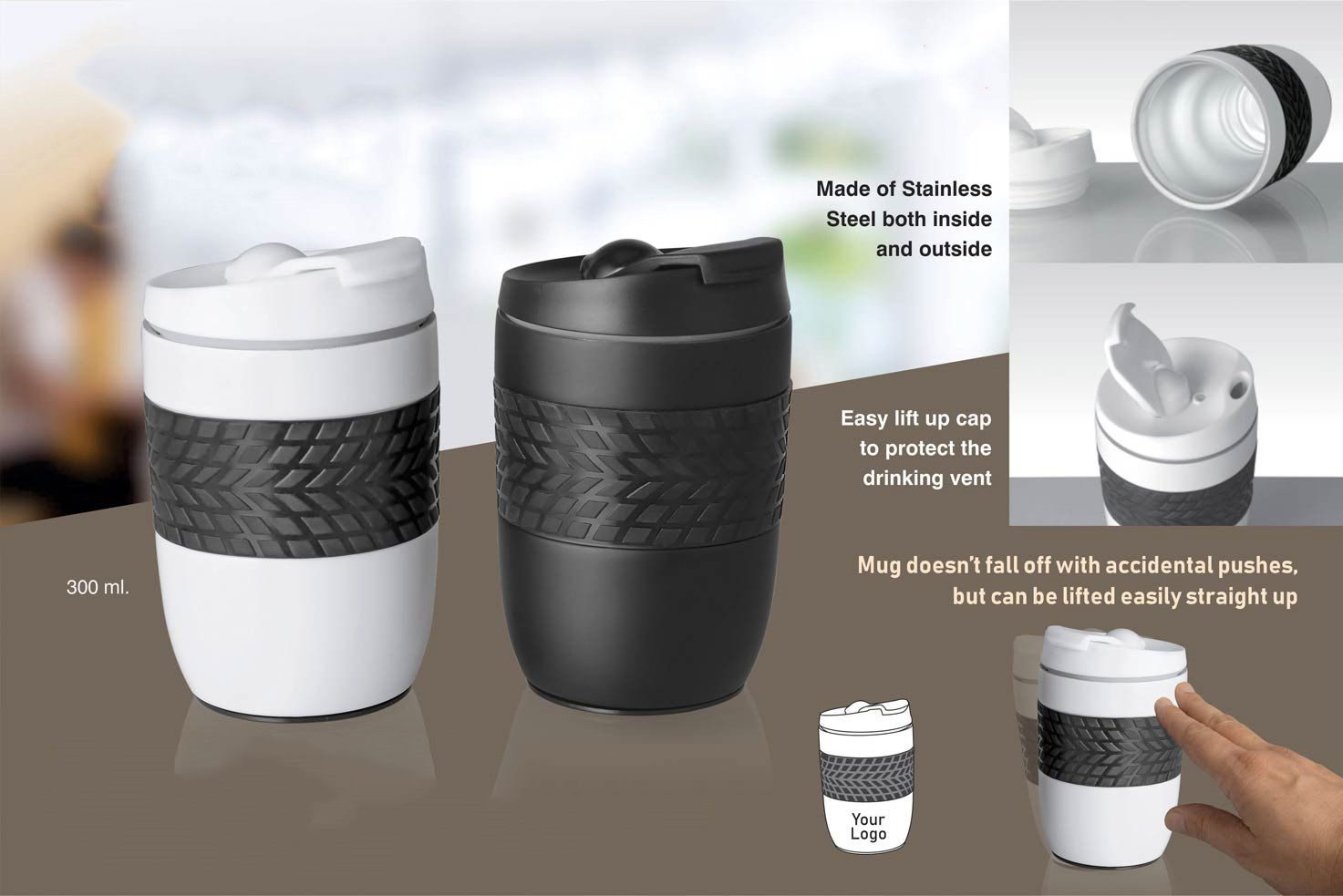 Power Plus Ferrero Stainless Steel Magic Coffee Mug (300 Ml Approx) (Spill Free Design) H138