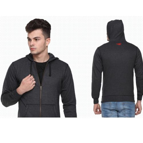 Flying Machine Men'S Hooded Sweatshirt - Charcoal Grey(Xl)
