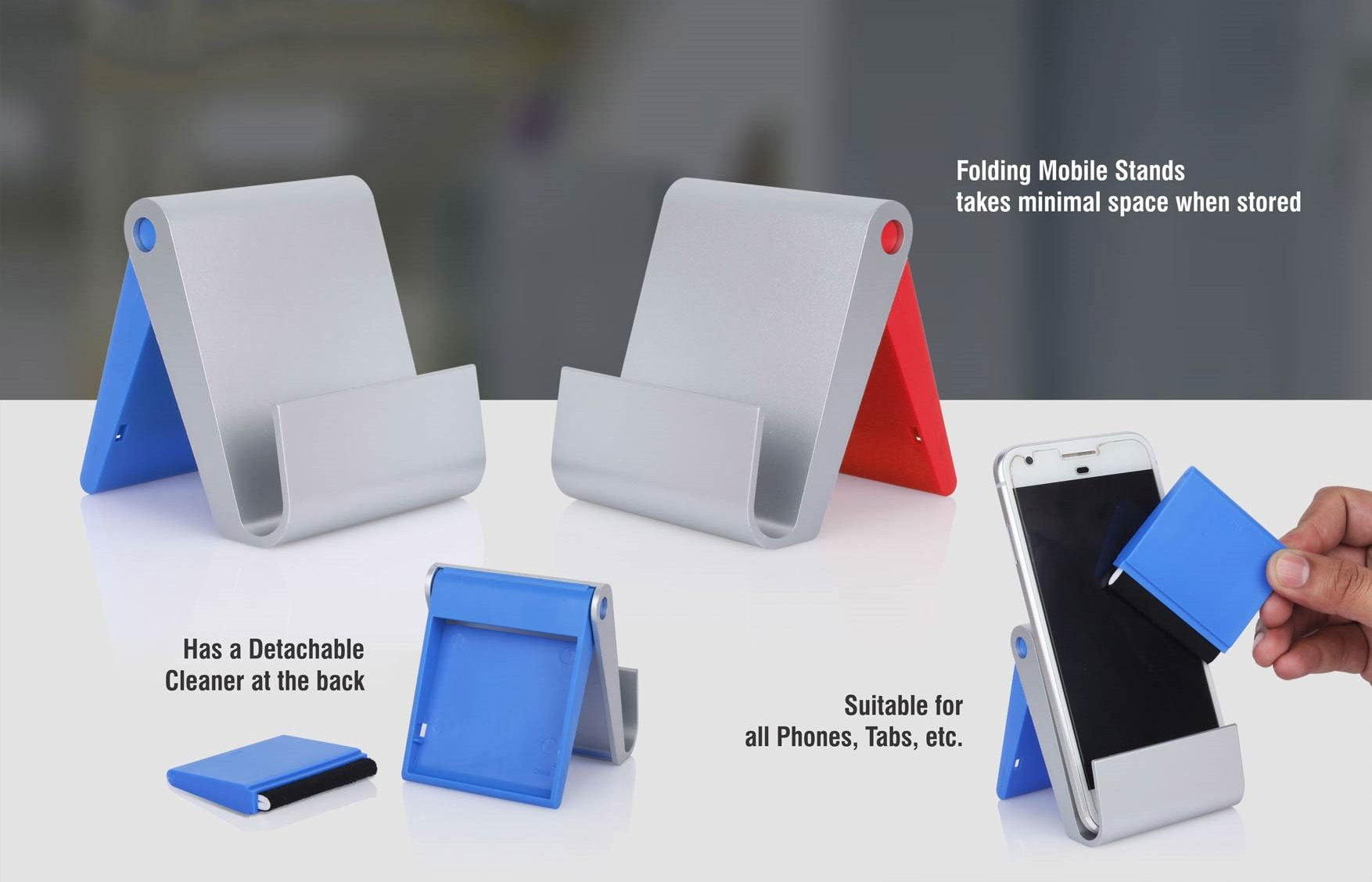 Power Plus Folding Mobile Stand With Detachable Screen Cleaner (Xl Branding Area) E227