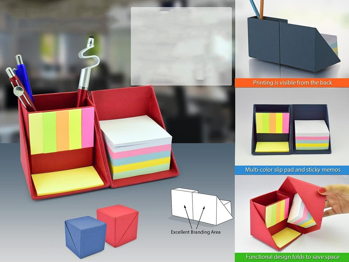 Folding Paper Cube In Color (With Memopad And Tumbler) B47C