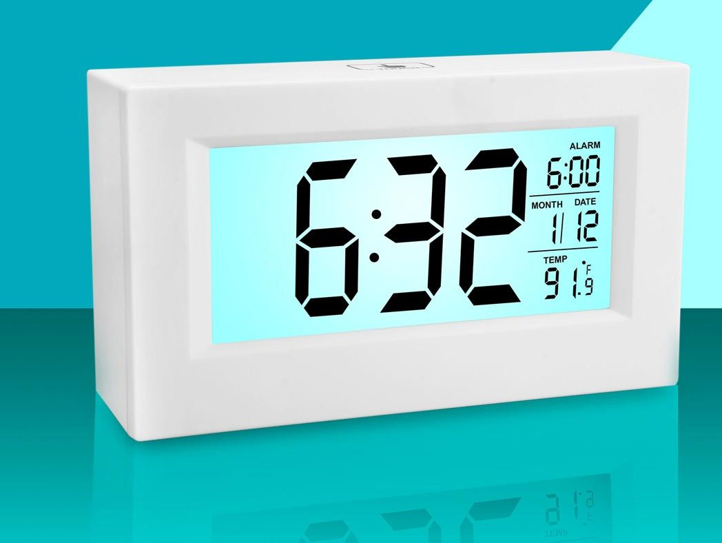 Power Plus Large Sensor Clock With Backlight And Temperature A103 White