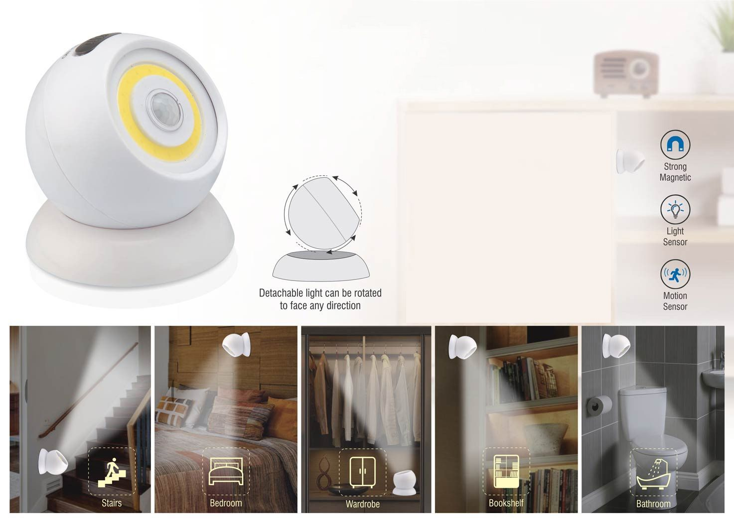 Power Plus Magnetic 720 Degree Sensor Light With Motion Sensor (With Detachable Magnetic Stand) E208s White