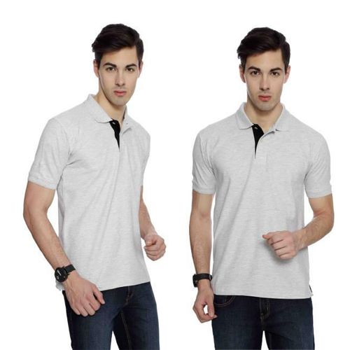 IZOD Men White Melange with Black Placket Collared T-shirt-XXL