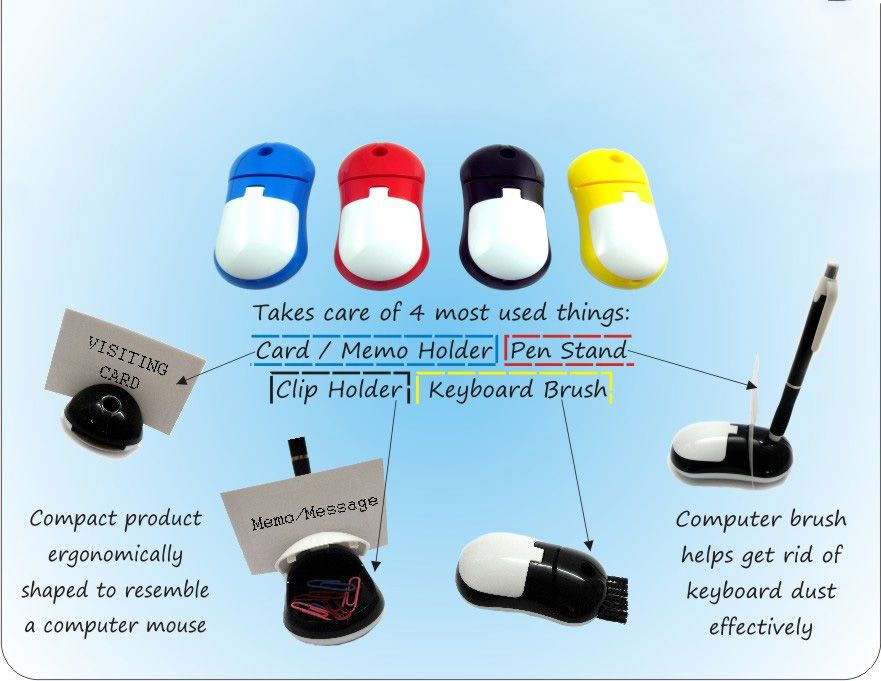 Power Plus Mouse Shape 4 In 1 Table Top (With Pen Holder, Memo Holder, Paper Clip Holder & Keyboard Cleaning Brush) B19