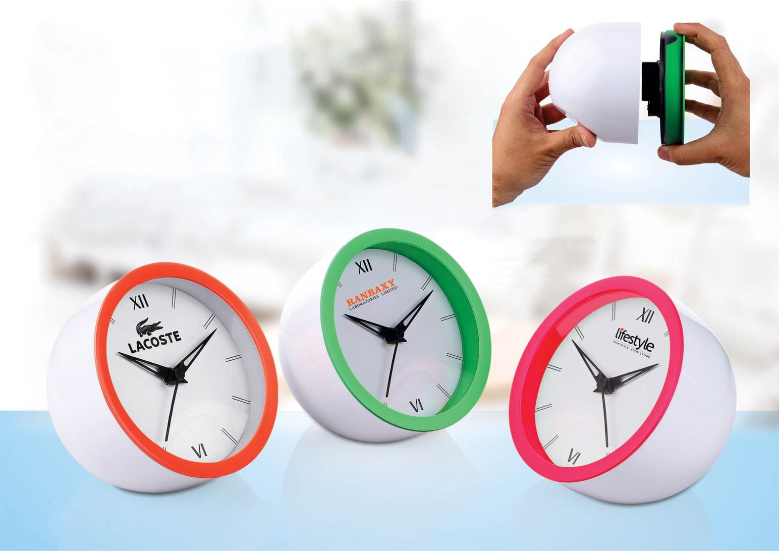 Power Plus Chipper: Table Clock With Fluorescent Ring | 5 Inch Dial | Branding Included Moq 200Pc A126