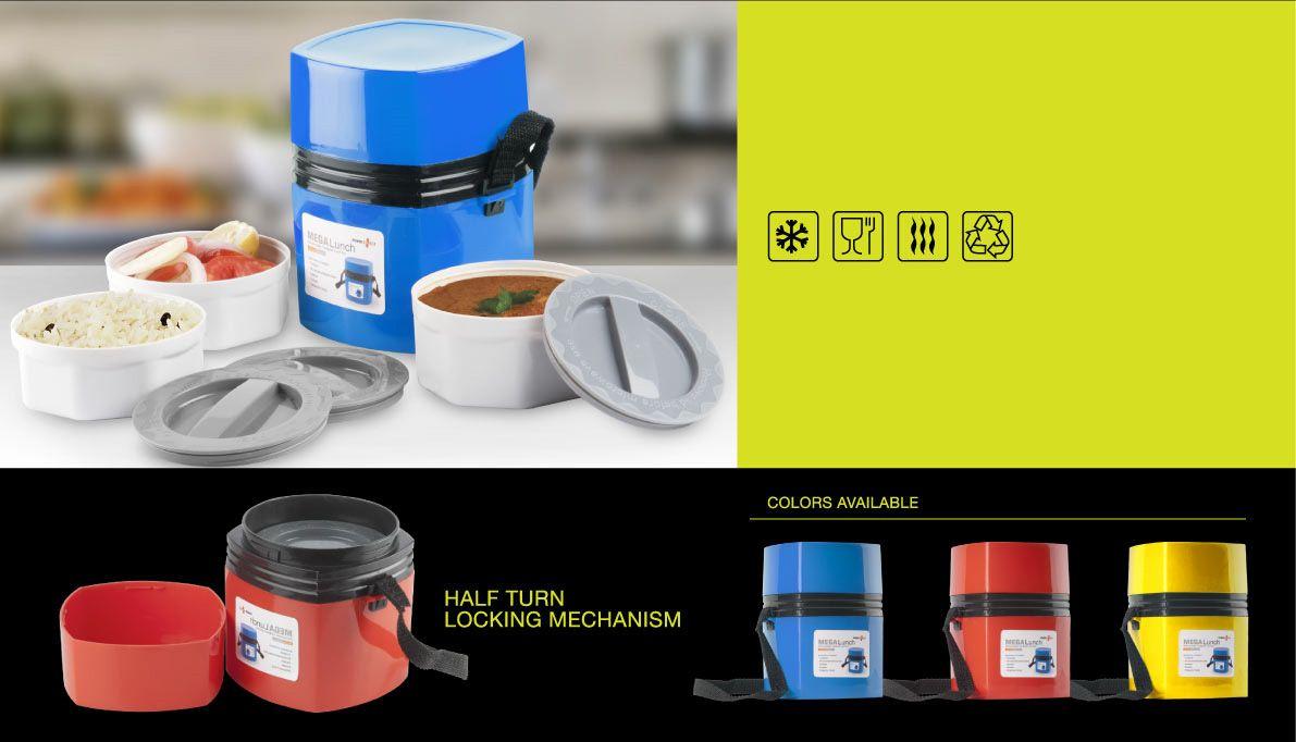 Power Plus Power Plus Mega Lunch Box (Microwaveable)- 3 Box H35