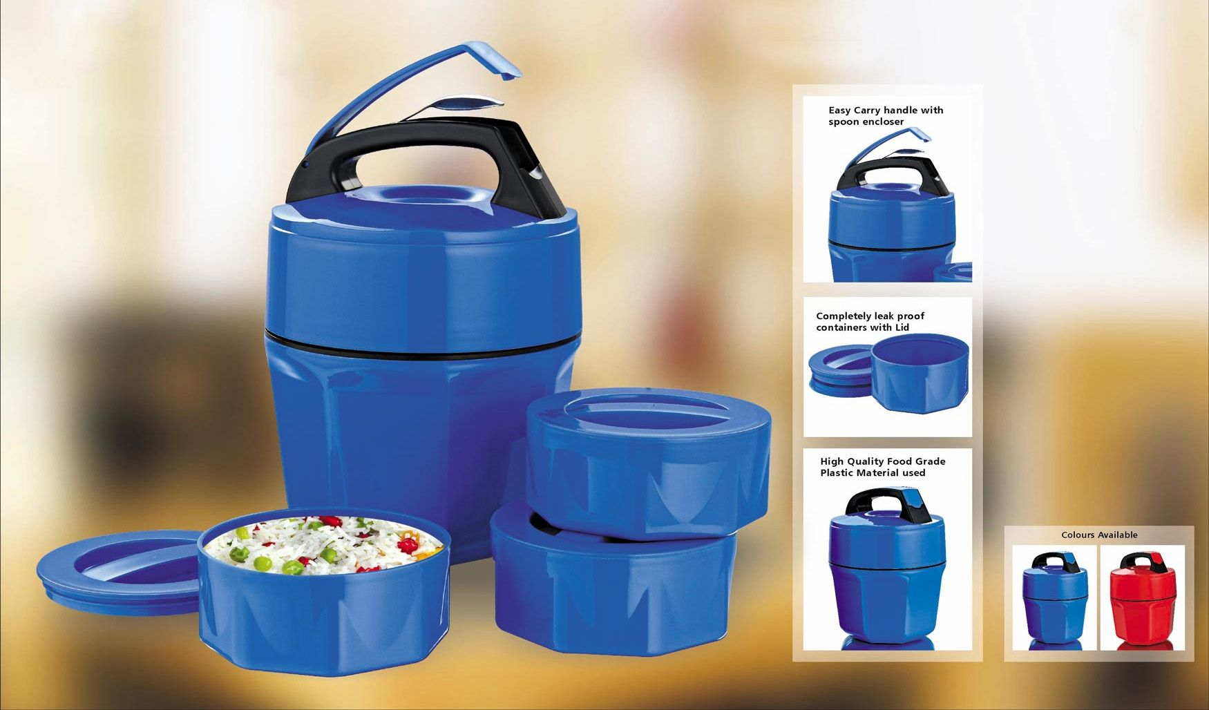 Power Plus Octomeal Lunch Box - 3 Containers (Plastic) H86