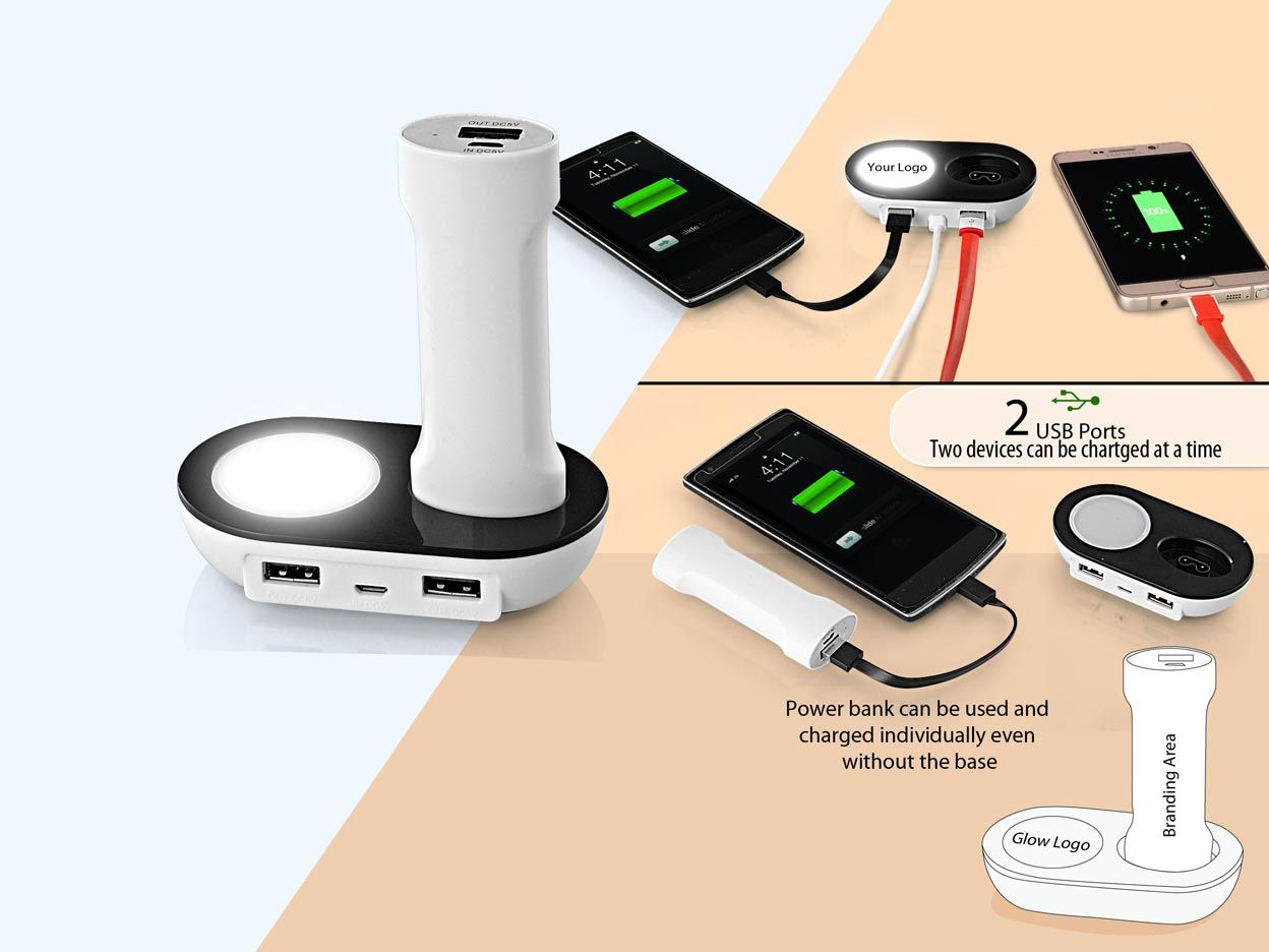 Power Plus Powerglow Desk Power Bank With Dual Usb Ports (3,000 Mah) C43