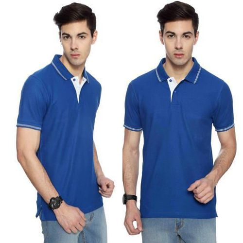 Flying Machine Men Royal Blue with White tipping Collared T-shirt-XL