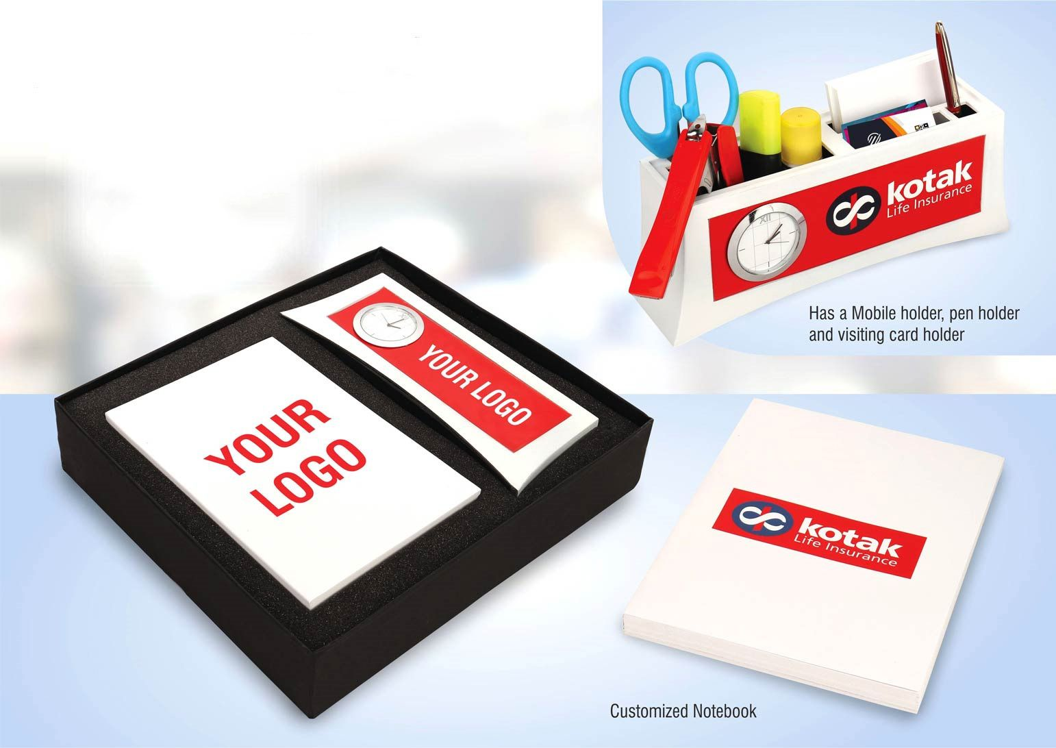 Power Plus Set Of 2: Multifunction Clock With A5 Notebook In Gift Box | Branding Included Moq 200 Pc Q32 White