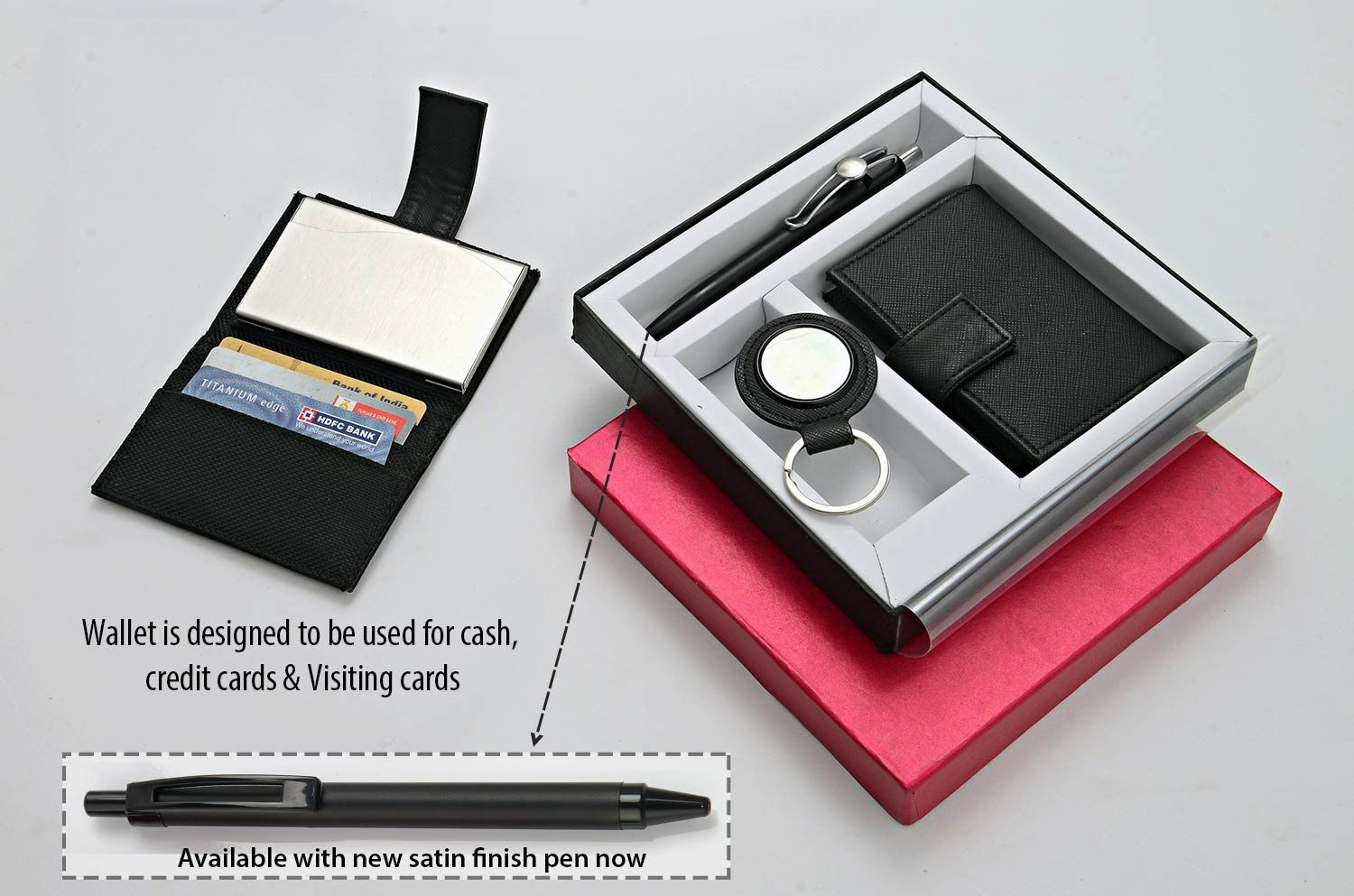 Power Plus Set Of 3 : Round Pu Keychain (J68), 3 In 1 Wallet (For Cash, Cards And Visiting Cards) & Highway Satin Pen (L131) Q16