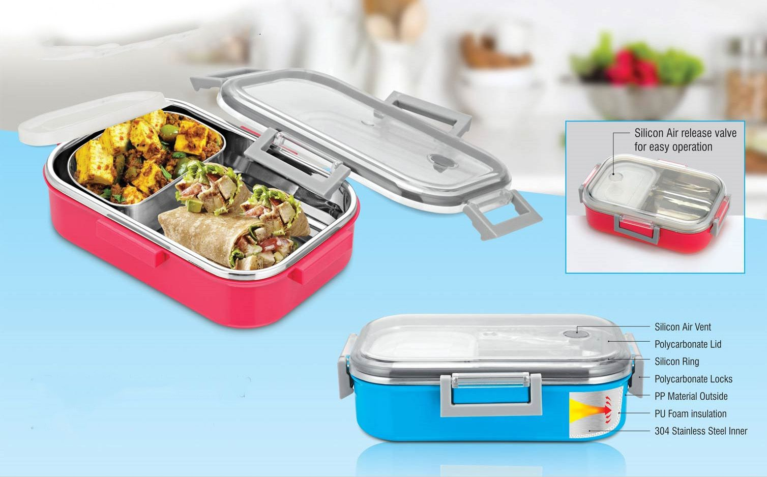 Power Plus Sigma Poly-Steel Slim Lunch Box (Made Of Polycarbonate And Steel) (Unbreakable) H145