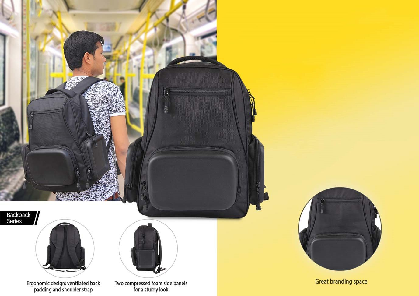 Power Plus Tuff Stuff Backpack (3 Shell Pockets) By Castillo Milano S04 Black