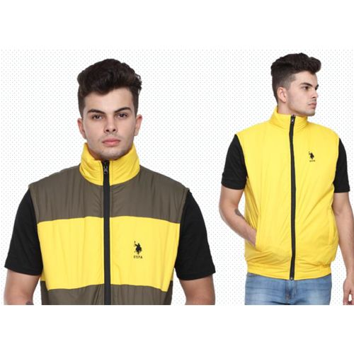 U.S. Polo Assn. Reversible Sleeveless Jacket - Grey And Yellow(Xl)