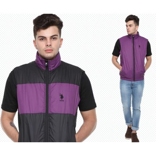U.S. Polo Assn. Reversible Sleeveless Jacket - Purple And Black(L)
