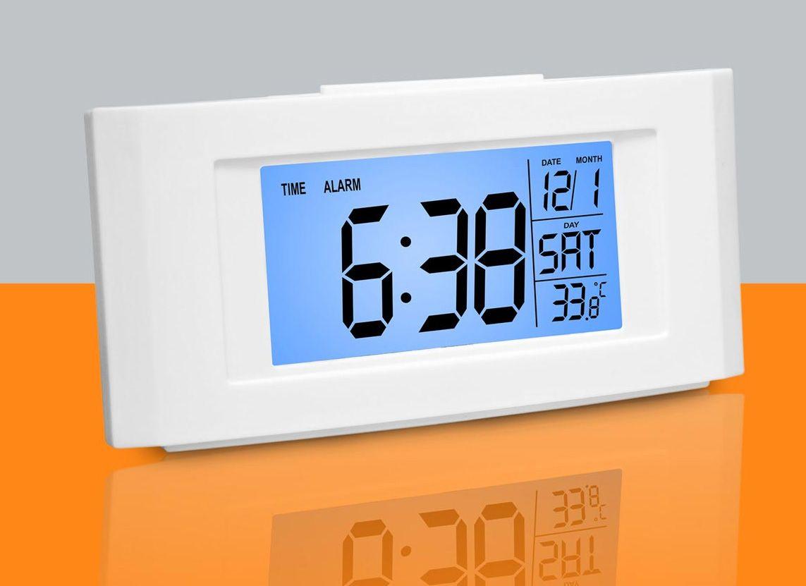 Power Plus Vista Backlight Clock With Temperature A102 White