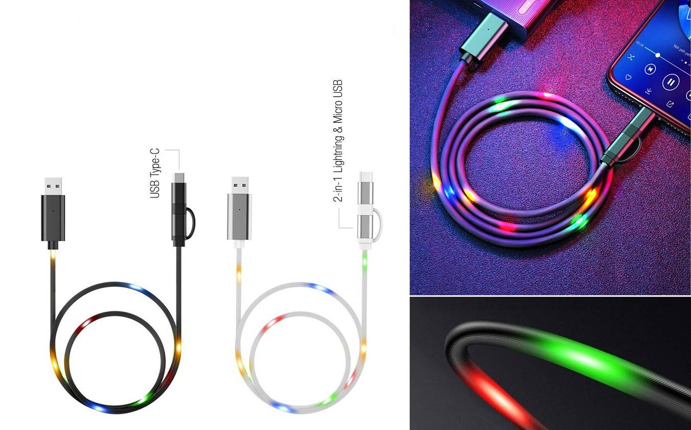 Power Plus Voice Controlled Led Light Charging Cable (Multicolor)   Light Flashes Based On Music   1 Mtr Length C103