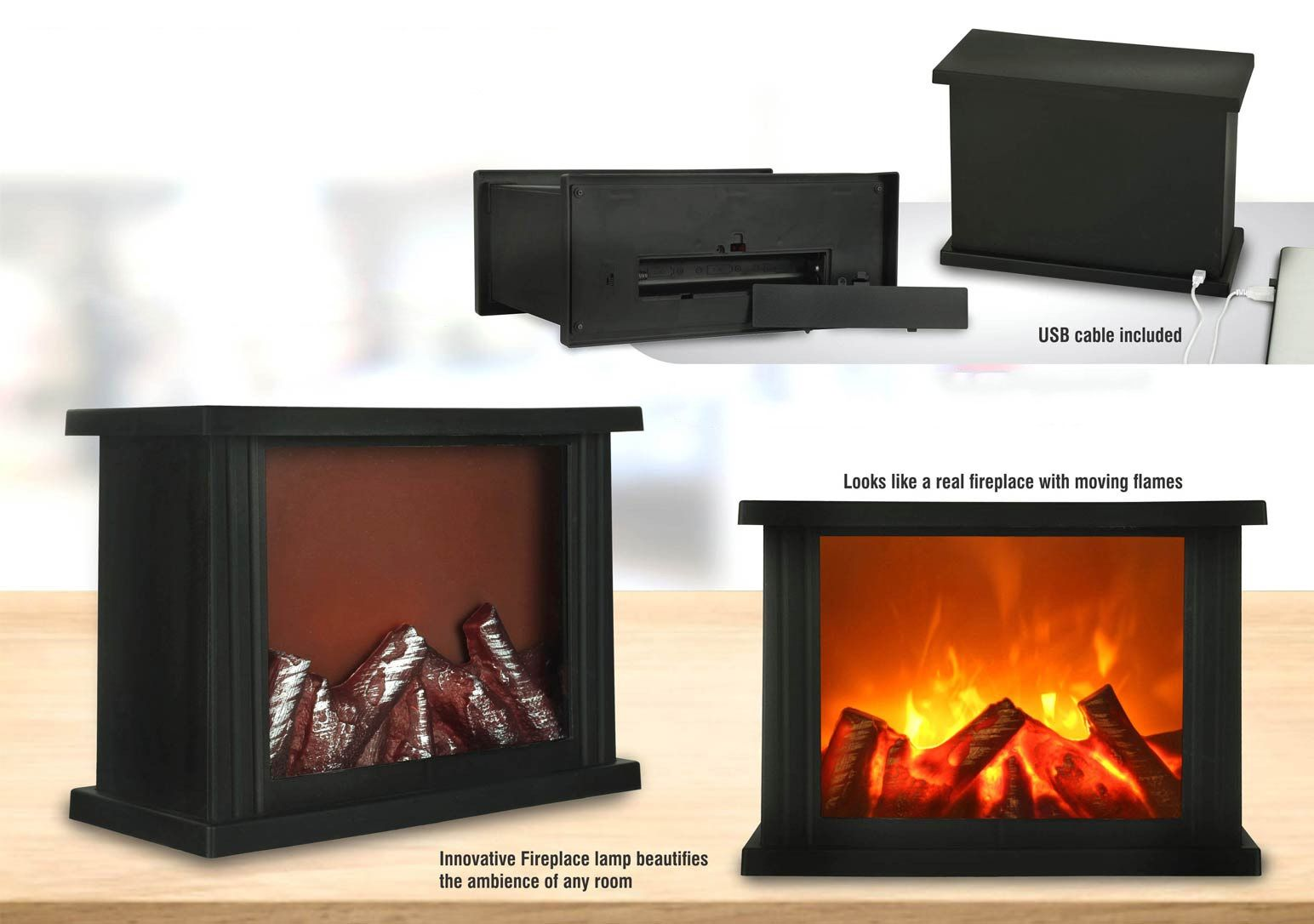 Power Plus Wooden Look Fireplace With Moving Flames | Works With Usb / Batteries | Cable Included E213 Black
