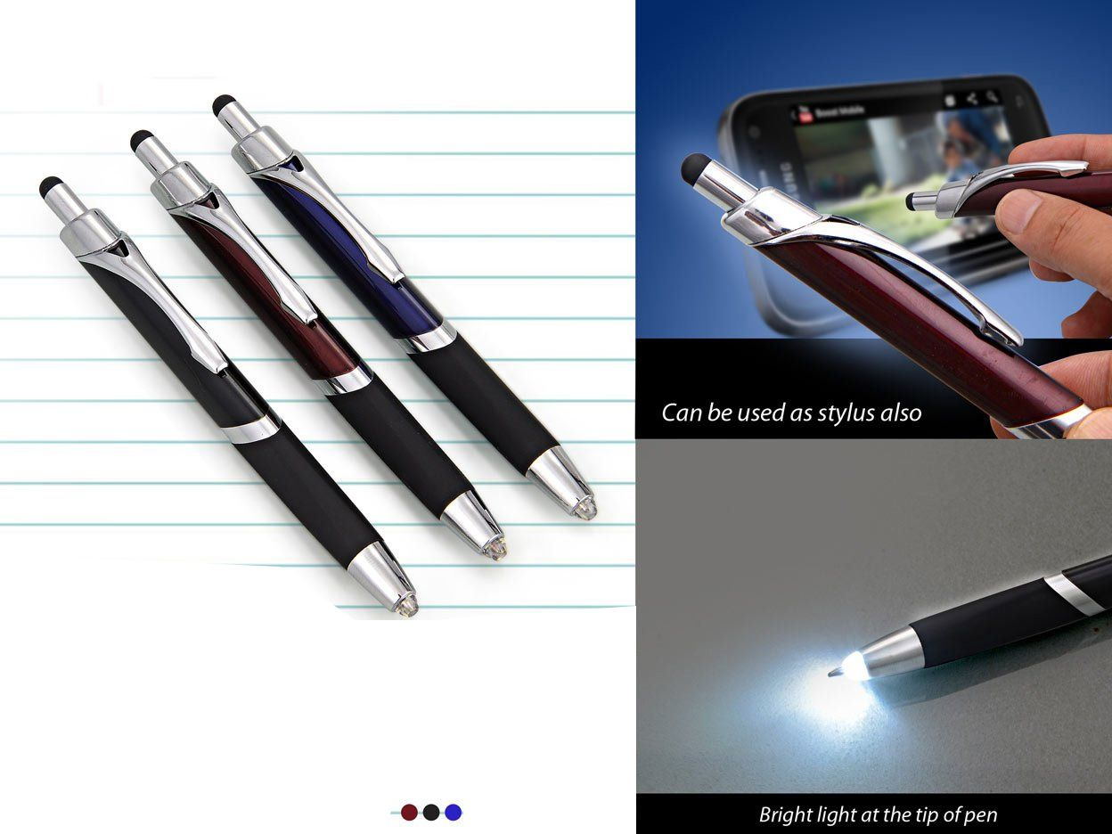 Power Plus Write In The Dark Executive 'Click' Pen With Stylus (Brass Body) (Triangle Shape) L96