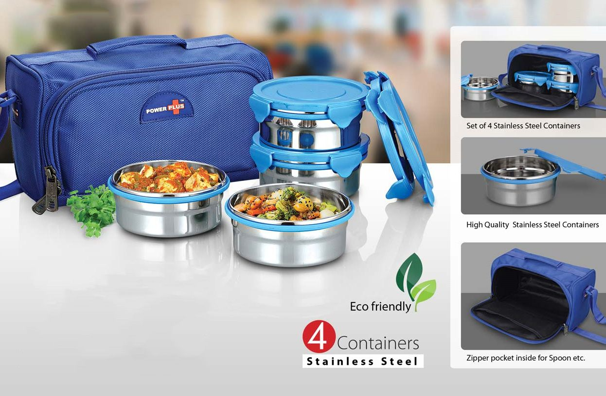 Power Plus Zippy Delight: 4 Container Lunch Box (Steel Containers) H102 Blue