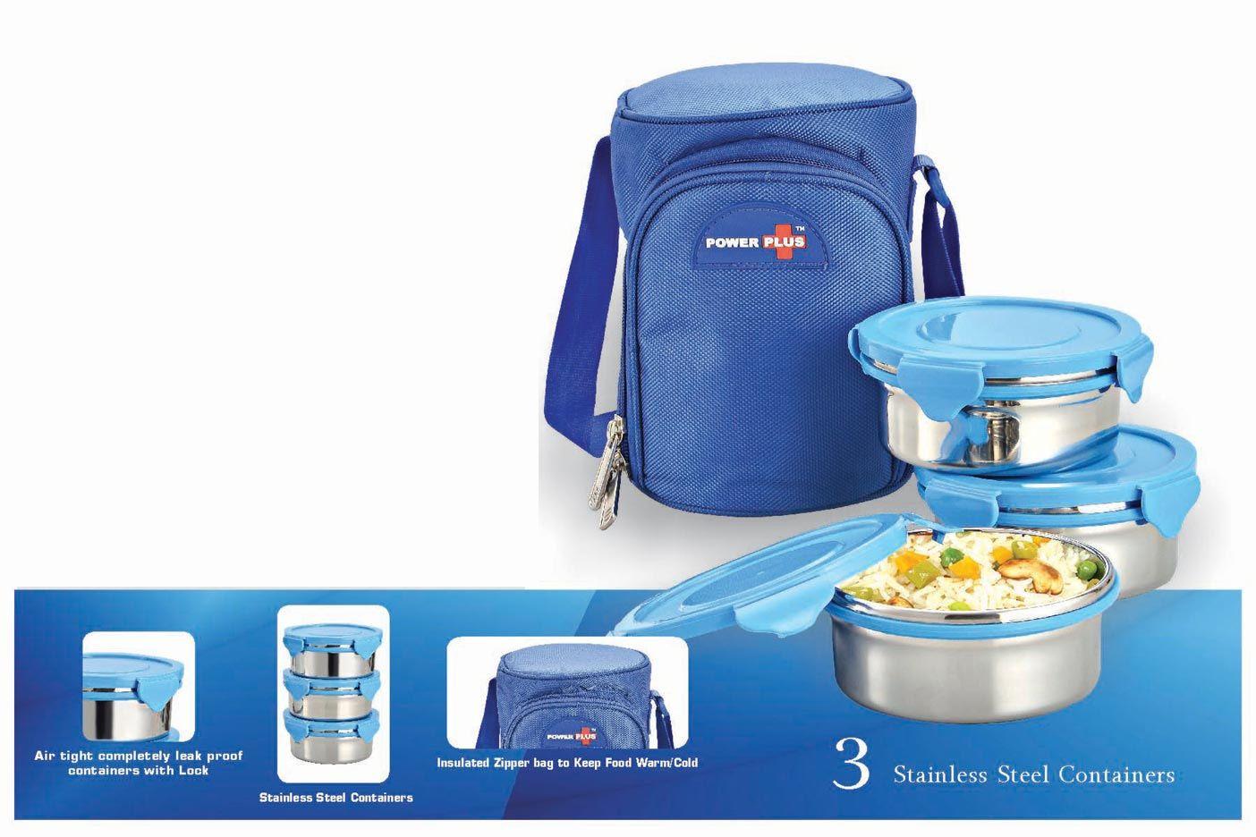 Power Plus Zippy Lunch Bag- 3 Containers (Metal) H71 Blue