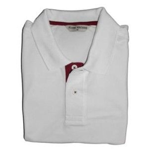 Flying Machine Collared T-Shirt White With Maroon Placket