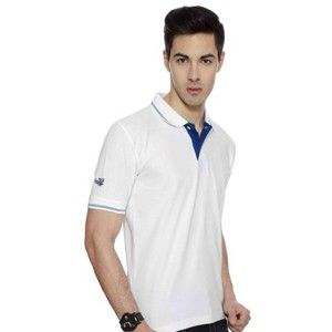 Flying Machine Collared T-Shirt White With  Royal Blue Tipping