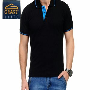 Grass Elite Collared T-Shirt Black With Blue Tipping