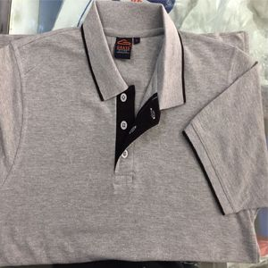 Grass Elite Collared  T-Shirt Grey With Black Tipping