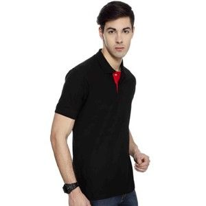 Izod Collared T-Shirt Black With Red Placket