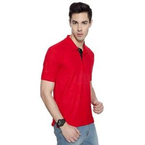 Izod Collared T-Shirt Red With Navy Blue Placket