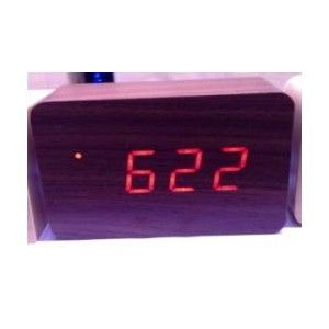Kairos  Wood Led Rectangle Alarm Clock