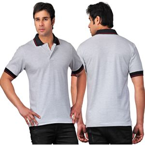 Scott Collared T-Shirt Grey With Black Tipping