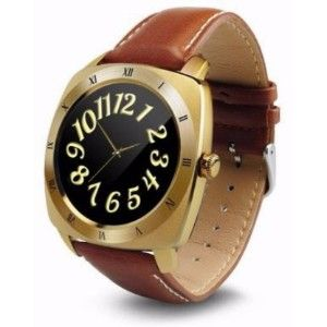 Wayona Bluetooth Smart Watch Heart Rate Monitor Round Dial Wristwatch For Android And Ios Smart Wearable Luxury Gold Smartwatch  (Brown Strap)