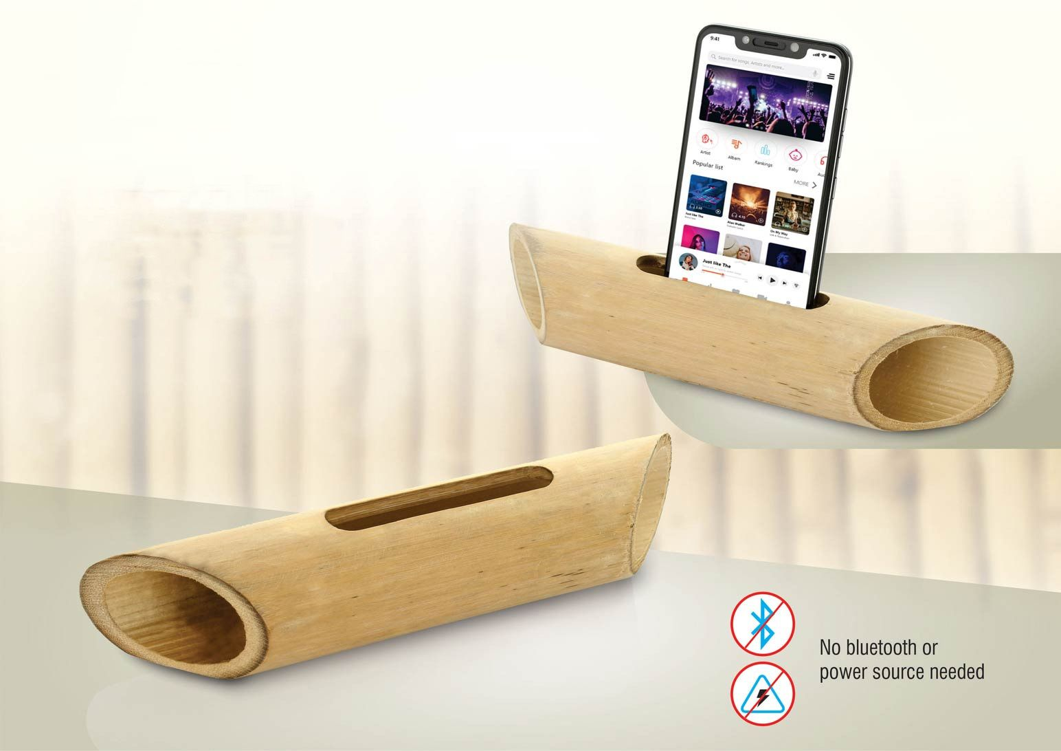 Power Plus Bamboo Music Amplifier For Smartphones   Universal Design E245 Wooden