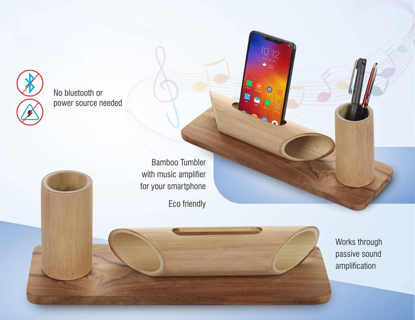 Power Plus Bamboo Set: Bamboo Tumbler With Music Amplifier For Smartphones | Universal Design Q34 Wooden